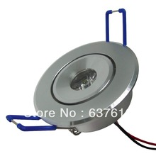 Free shipping 3W LED Recessed Downlight Cabinet Lamp epistar led silver shell 85-265v downlight, White Red Blue Green Yellow(China (Mainland))