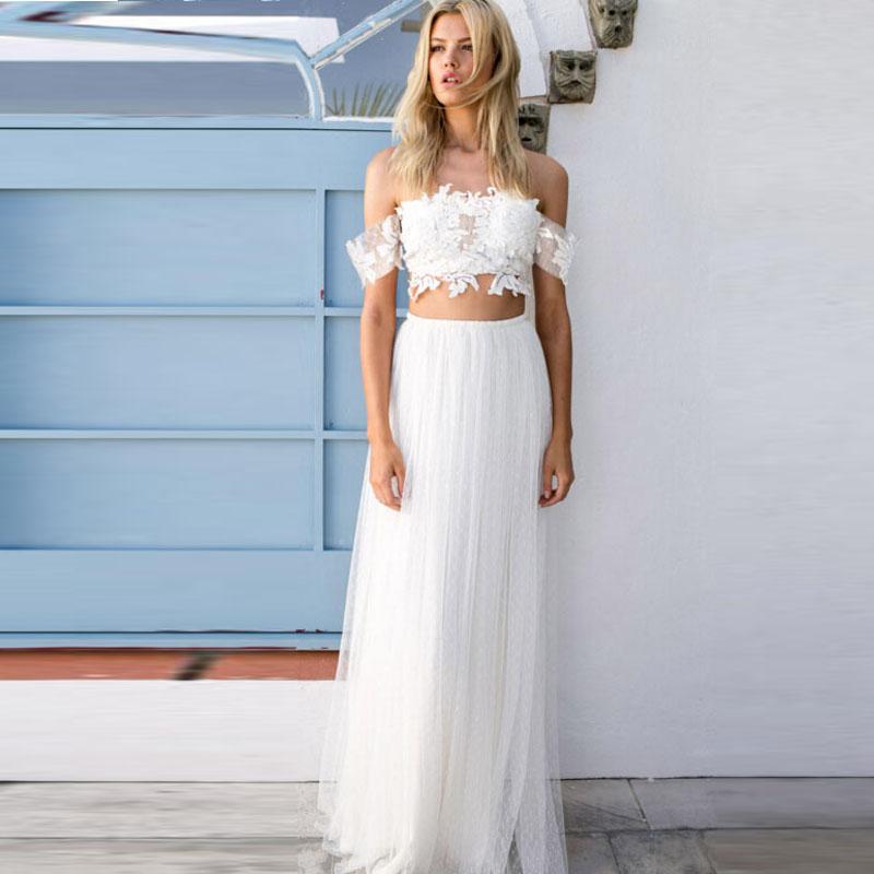 Romantic Simple 2 Pieces Beach Wedding Dresses Lace Bodice Bohemian Tulle Lon