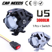Freeshipping Motorcycle Headlight Lamp 125W Motorbike 3000LMW Upper Low Beam & Flash CREE U5 LED Driving Fog Spot Light Head(China (Mainland))