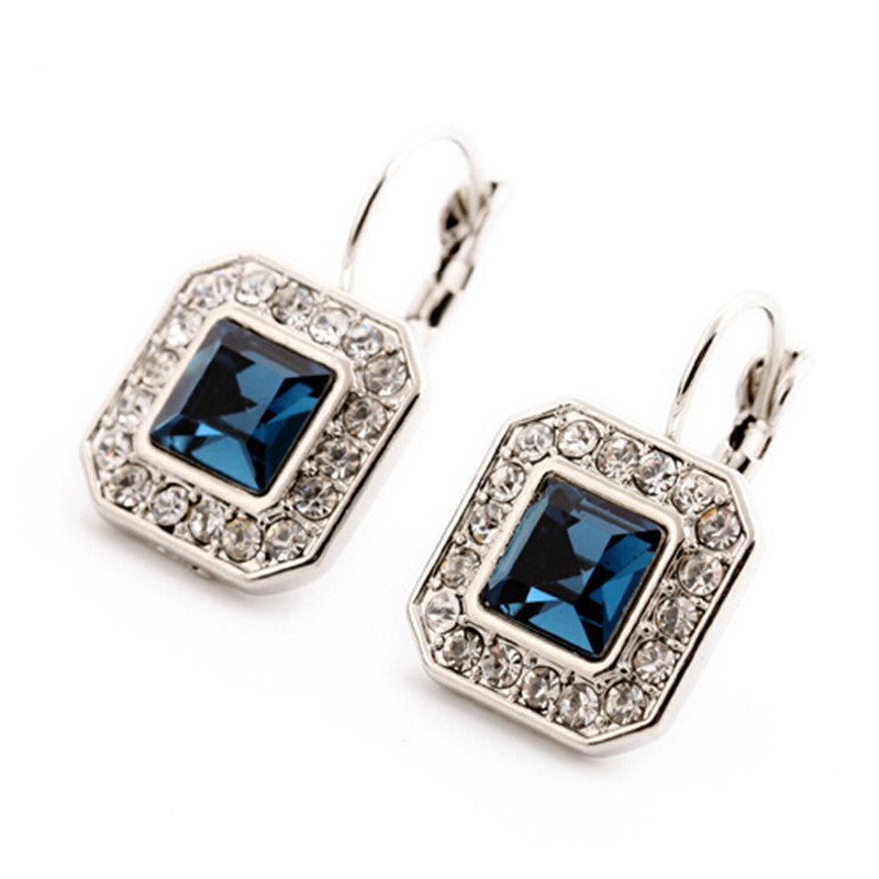 New Blue Geometric Rhinestone Crystal Drop Earrings For ...