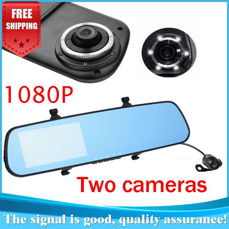 "Dual Lens Car Rearview DVR Mirror Camera Novatek 96650 HD 1080P 30FPS 12.0MP CMOS 4.3""LCD 170 Degree View Angle(China (Mainland))"