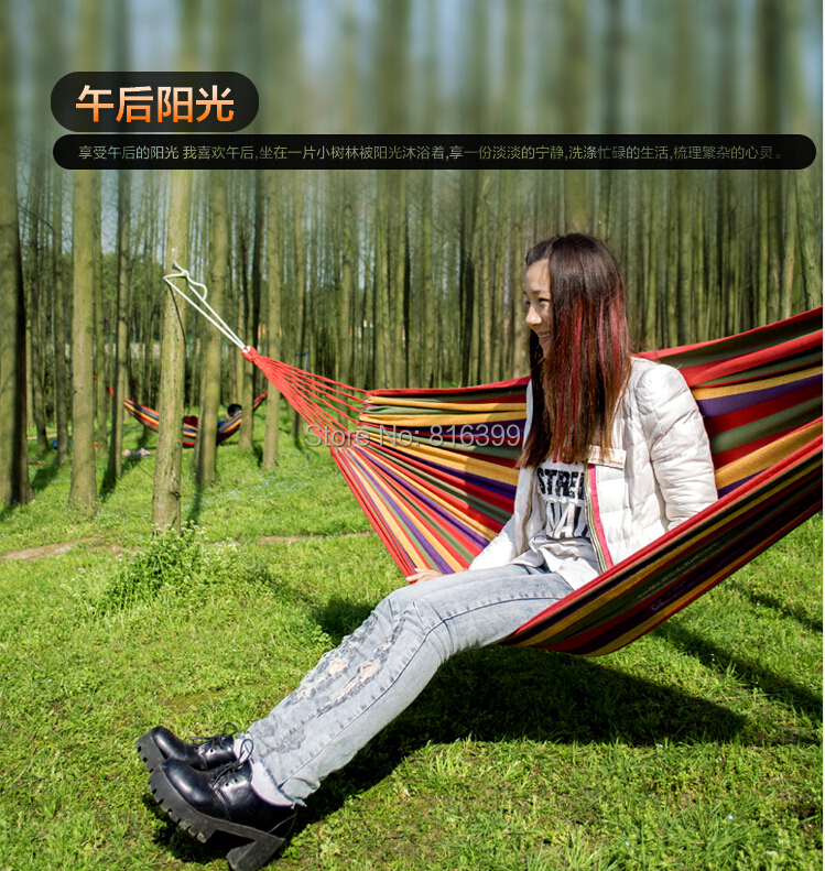 free shipping New Huge Double Cotton Fabric Hammock Air Chair Hanging Swinging Camping Outdoor Red<br><br>Aliexpress