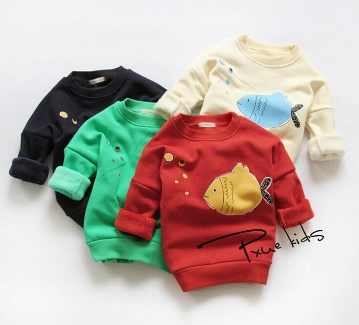 Cute Bubble fish retails children baby girl Batwing sleeve thicken fleece cotton winter hoodies sweater Kids sweatshirt(China (Mainland))
