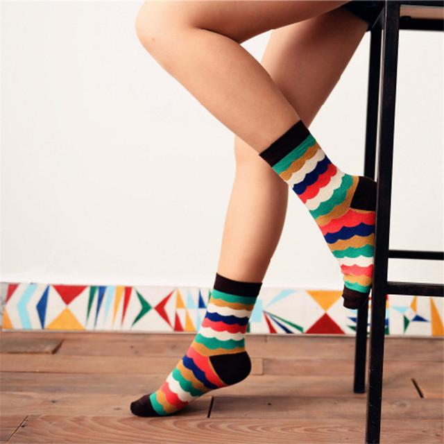 2015 новинка Caramella новинка нейтральный радуга носки женщины и мужчины красочный длинным носка дешевой дизайнер искусство носки для любителей