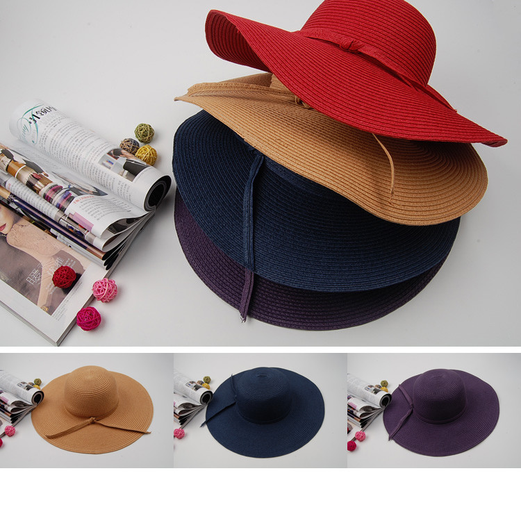 4 Color 2016 Spring Summer Big Cap Ladies Female Beach Foldable Straw Hats To Decorate Wide Large Brim Floppy Sun Hats For Women(China (Mainland))