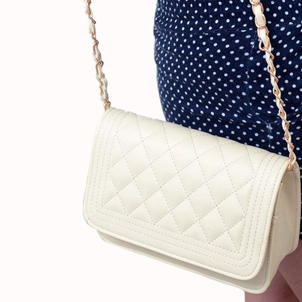 High Quality White Fashion Cute Women Soft Handbag Shoulder Bags Tote Purse Leather Lady Messenger Hobo Bag Chain(China (Mainland))
