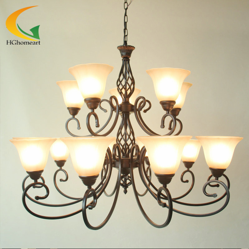 Wrought Iron Font B Chandelier
