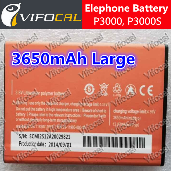 Elephone P3000 battery High Capacity 3650mAh 100% Original large New Replacement For Elephone P3000S Cell Phone + Free Shipping