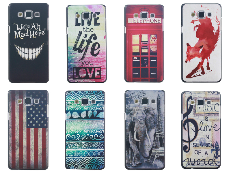 Free shipping we are all mad here elephant telephone box USA Flag fox music hard plastic case For Samsung Galaxy A7(China (Mainland))