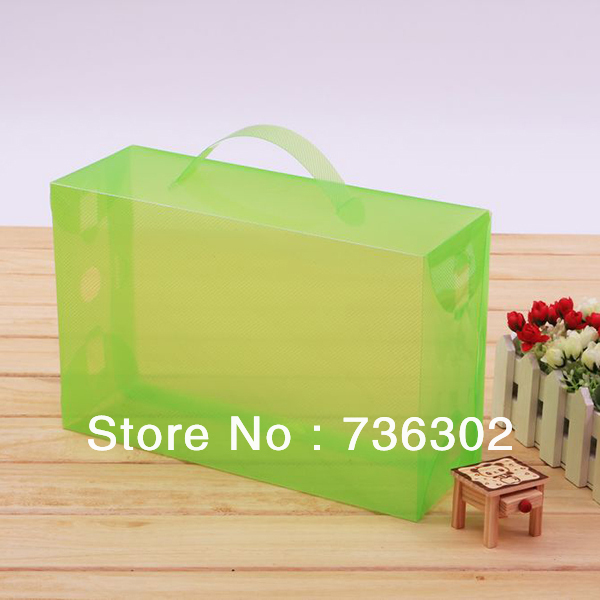 Multiple color choices transparent wholesale Handle side open plastic packing shoe box(China (Mainland))