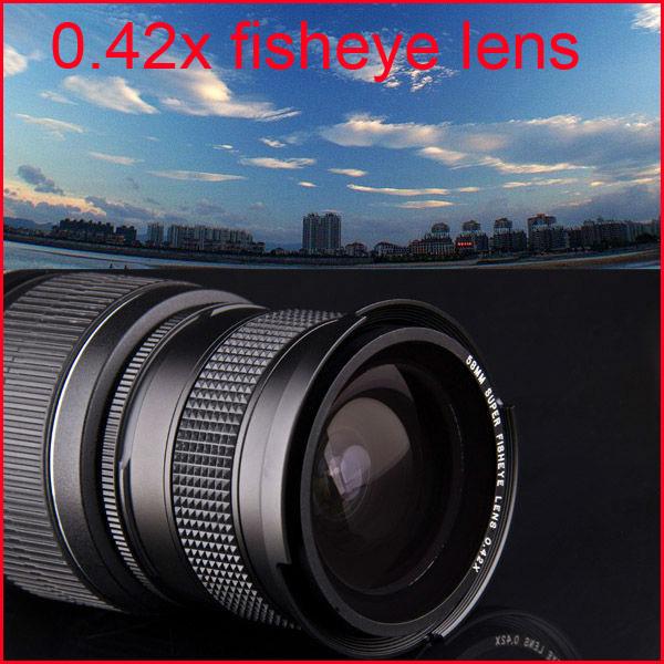 58mm 0.42XSuper Fisheye+Wide Angle+Macro Camera Lens For Canon EOS Rebel T5i T4i T3i T3 T2i XSi SL 600D 700D 18-55mm Digital SLR(China (Mainland))
