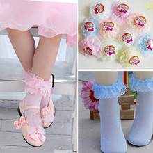 4 sizes for 2~12 years Baby boys and girls socks white and pink cotton socks relent bud bow lace sock 5 Pairs(China (Mainland))