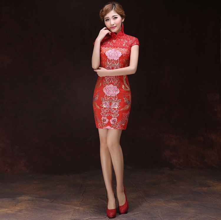 Free Shipping Red Chinese Wedding Dress Qipao National Costume Women Dress Chinese Style Lotus