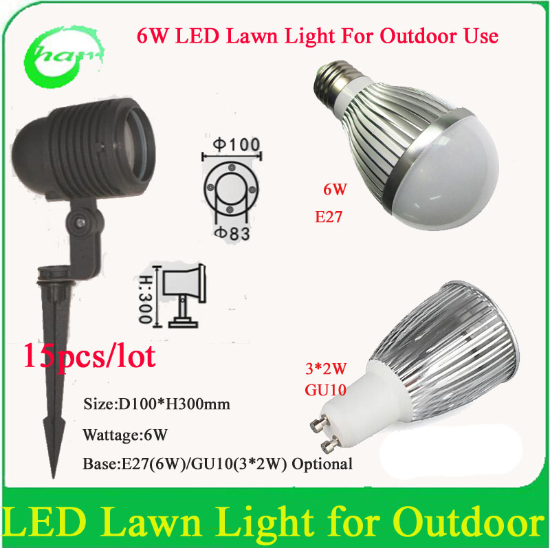 Profession Garden Led Lights 6W (E27 bulb GU10 spot light)Outdoor IP65 Waterproof Decorative Lawn Lamps AC85-265V