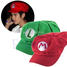 1pcs New arrival fashion 2 colors Luigi Super Mario Bros Cosplay Adult Hat adjustable Buckle cap Free / Drop Shipping(China (Mainland))
