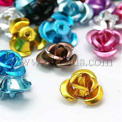 Stock Deals Aluminum Rose Flower,  Tiny Metal Beads,  Colorful,  12x7mm,  Hole: 1mm,  about 950pcs/bag