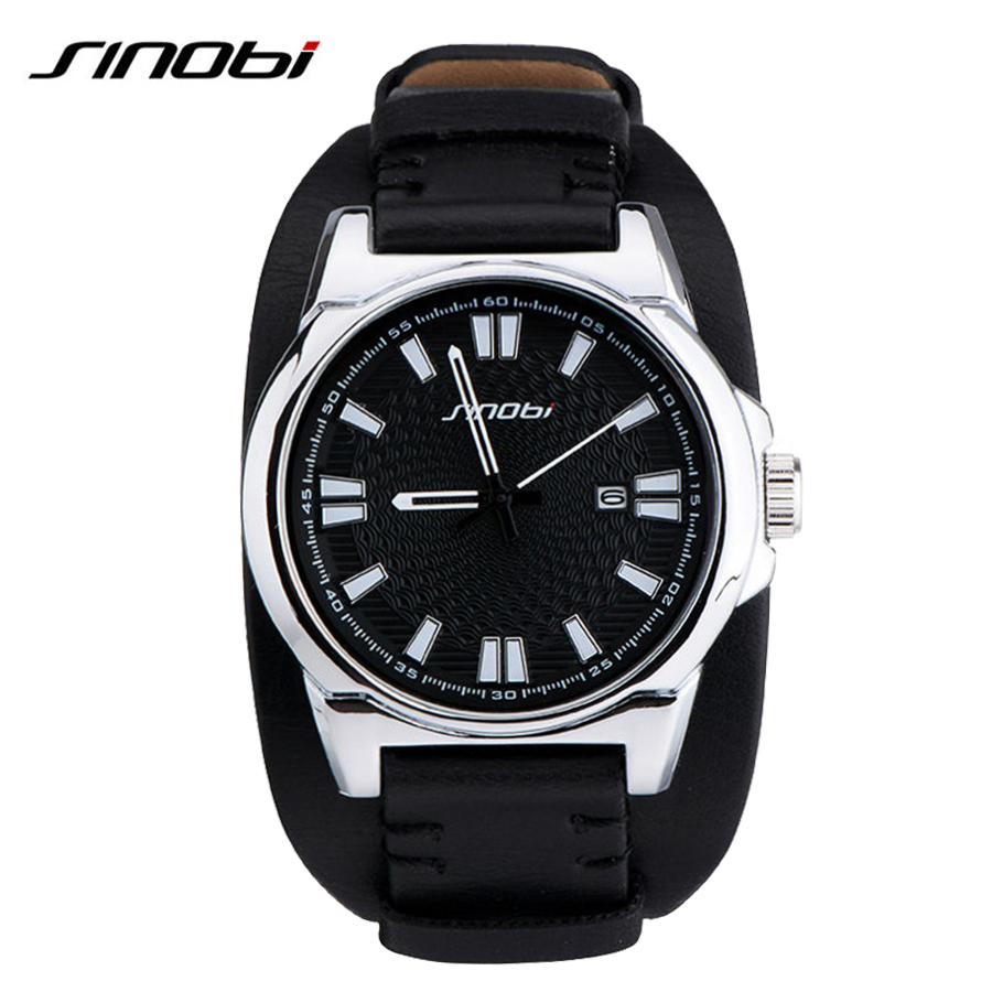 SINOBI Brand Mens Watches Top Brand Luxury Leather Mens Watches Military Army Calendar Outdoor Watch Male Waterproof Relogio(China (Mainland))