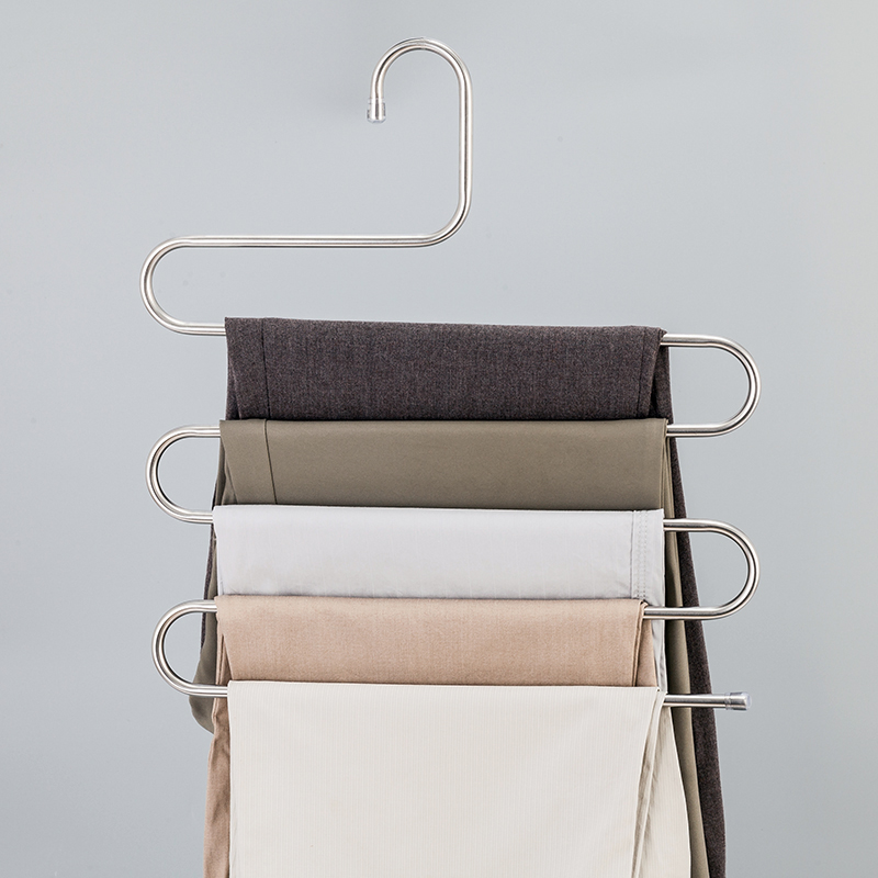 High Quality Stainless Steel Five Layers S-Shaped Trousers Rack Hanger Wardrobe Collation Accessories Tie Pants Scarf Organizers(China (Mainland))