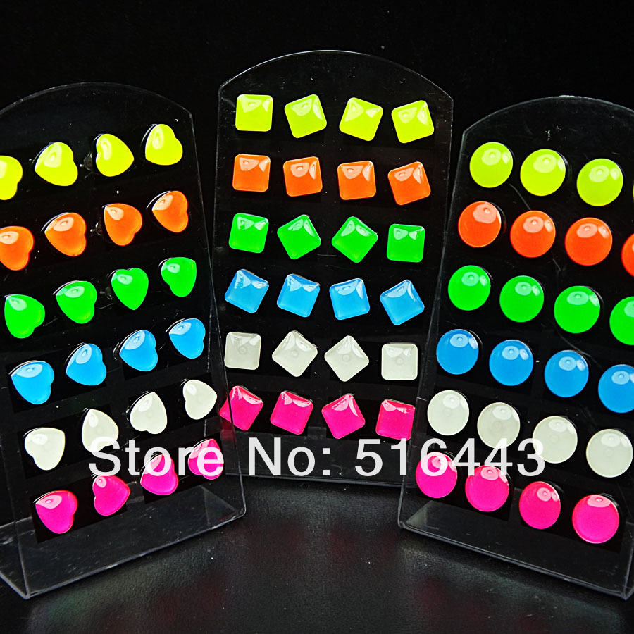 Square/Heart/Round Mix 14 Fashion Jewelry Enamel Stainless steel Stud Earrings A-560/563/564 - Edna store