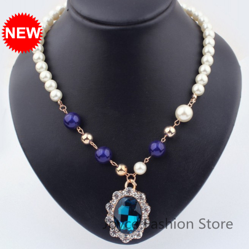 Min Order $10,New Statement Necklace 2014,Pearl Drop Pendant Turquoise Necklaces,Fashion,Accessories For Woman,N85