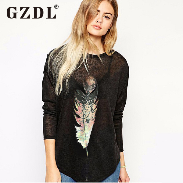 Korean Fashion Women Long Sleeve Feather Print Casual Loose Tunic T Shirt Pullover Tops Basic Plain Tee Camisetas Mujer 1909(China (Mainland))