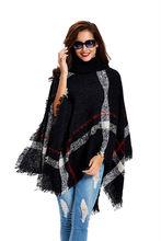 11th,Nov Plus Size Women's Wool Plaid Cardigan Turtleneck Cape Batwing Sleeve Knit Poncho Sweater(China (Mainland))