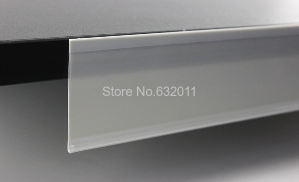 40mm width Flat label holder white and clear coextrusion flat data strip shelf talker sign holder strip(China (Mainland))