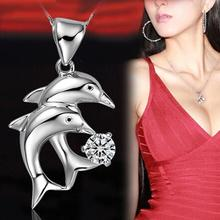 Trendy Rhinestone Inlaid Double Dolphin Image Woman Pendant Without Chain Silver Plated Charming Jewelry NL-0676(China (Mainland))