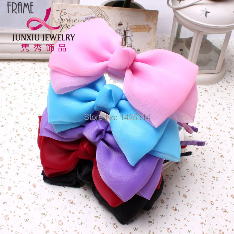 6Inches New Girl Fashion Big Chiffon Bow knot Girls Hair Clasp Lace Bow Baby hairbands Children Hair accessories 6pcs/lot(China (Mainland))