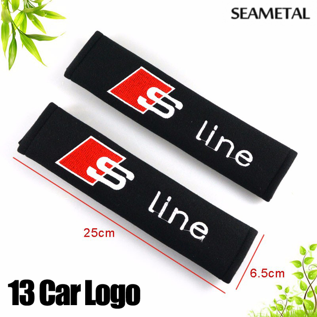 1 Pair Car Seat Belt Cover Shoulder Pads Cotton Embroidered For KIA Hyundai VW Volkswagen MAZDA TOYOTA Hyundai Atuo Accessories