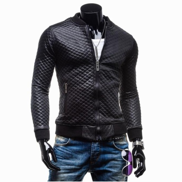 2015 winter simple short slim Quilted Leather Mens Plaid thickening washing motorcycle leather collarОдежда и ак�е��уары<br><br><br>Aliexpress