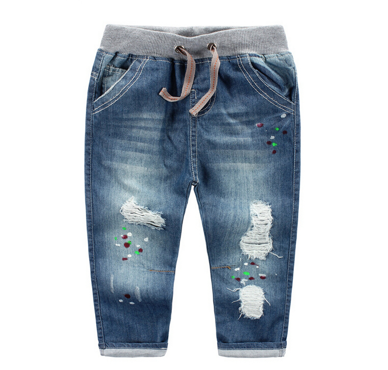 213432438 Wholesale 2015 New Fashion Boys Jeans Solid Distrressed Print Boys Pants Regular Denim Elastic Waist Kids Supplier<br><br>Aliexpress