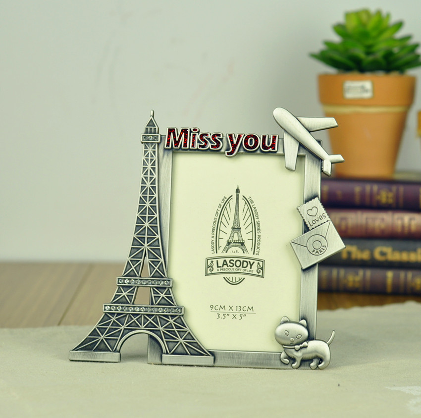 metal art craft home decoration vintage eiffel tower love photo frame miss you birthday gift free