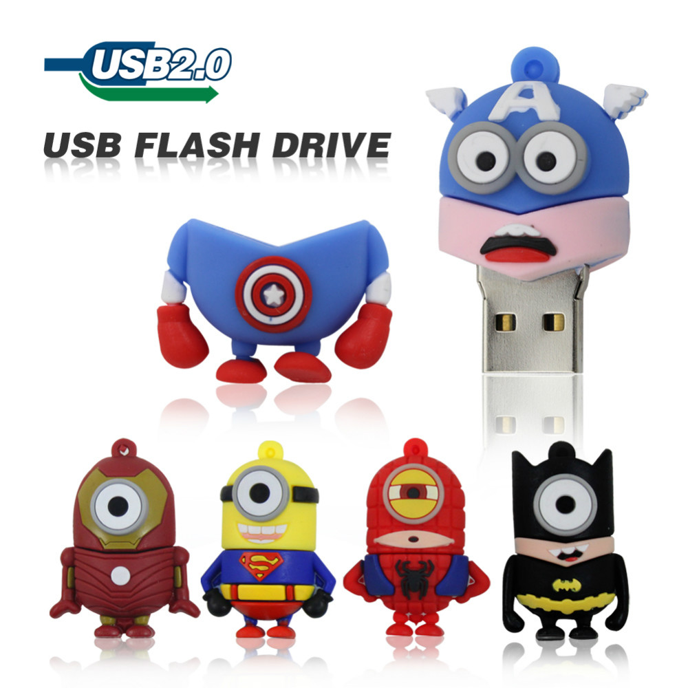 The Minions Usb Flash Drive 16GB 8GB 4GB Pen Drive The Avengers Pendrive Captain America Iron Man Despicable Me memory U Disk(China (Mainland))
