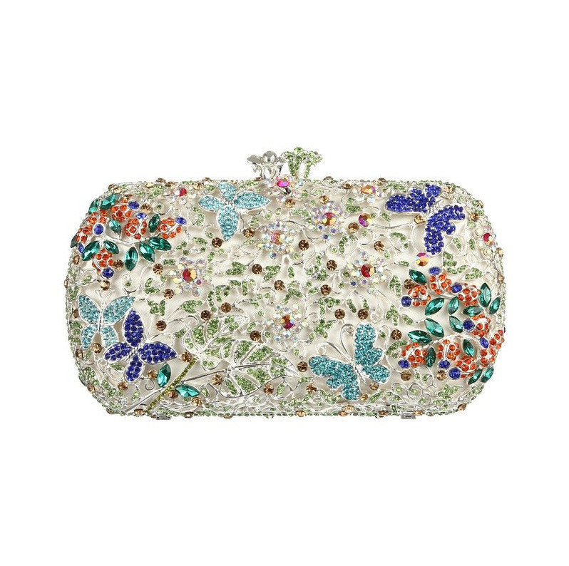 Buy Silver Clutch Bag UK with Shoulder Chain Floral Rhinestone Crystal Evening Bags with Butterfly Colorful Clutch Bag for Party(China (Mainland))