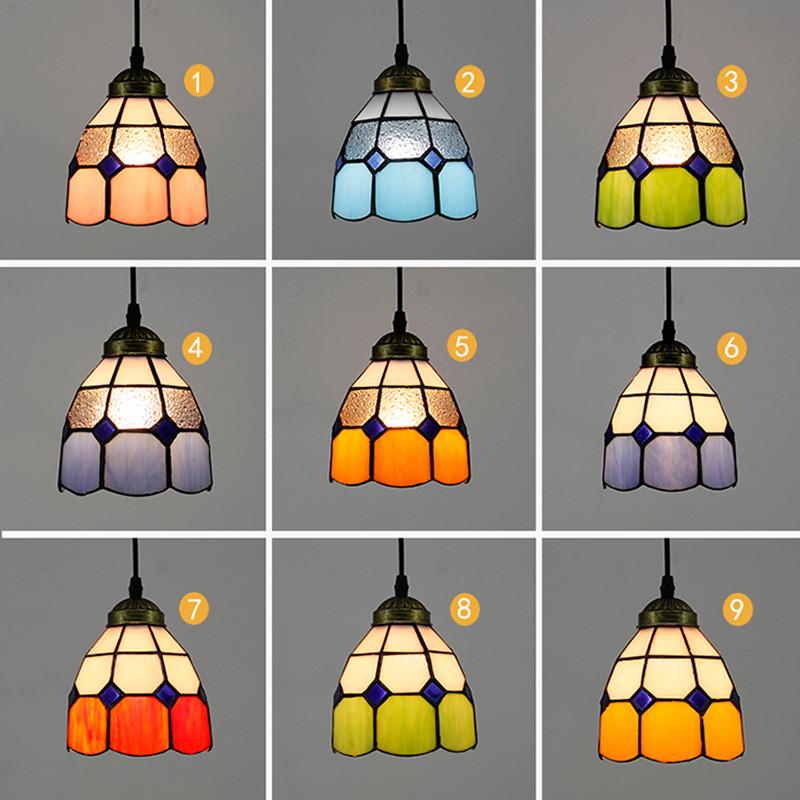 11 styles Multicolour glass pendant lamp single-head restaurant light modern tiffany bar pendant light Blue/Yellow/green/orange(China (Mainland))