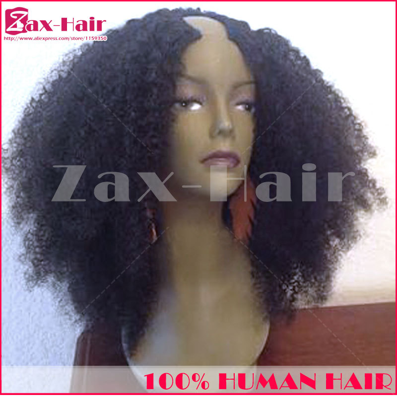 U part wig 180% density afro kinky curly u part wigs virgin hair middle left right part for black women stocked fashion on sale(China (Mainland))