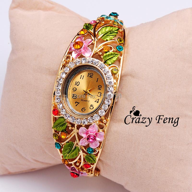 Free Shipping Geneva fashion luxury style Quartz watch women Wristwatches18Kgold filled brass band ladies dress watches Dropship(China (Mainland))