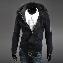 6 Color Fashion Men Hooded Jacket Long Sleeve Fit Zipper Sport Outerwear Autumn Spring #76153(China (Mainland))