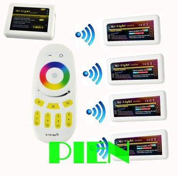 WiFi led controller hub+RGBW RF remote+4pcs group control 2.4G Wireless Controller for rgbw led strip 12V-24V DC Free shipping(China (Mainland))