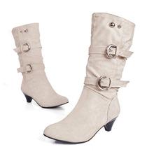 Tamaño grande 35-43 de Alta Calidad Mujeres de La Manera Del Alto Talón de Media Pantorrilla se Deslizan en Cuero de LA PU Otoño Invierno Botas Zapatos de la Nieve Botas O1685(China (Mainland))