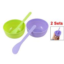 10 X Women Facial Care Green Purple Plastic Mask Bowl Mixing Stick