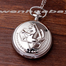 Shiny Full Metal Alchemist Dull Polish Silver Pocket Watch Necklace Chain Men's Quartz Watch Stainless steel Women Gifts