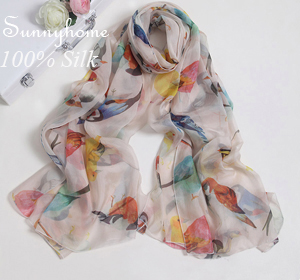Luxury Brand Womens Checked Scarf 100% Silk Soft Scarves Animal Birds printed Winter Warm Summer Head Scarf arab Islamic Hijab(China (Mainland))