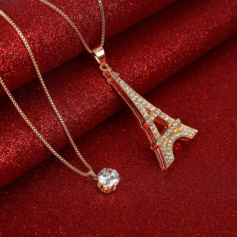 Shinning Created Diamond Decoration Pendant Necklace Eiffel Design Jewelry For Girl Golden Plated Chain Necklace(China (Mainland))