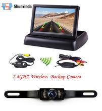 """Wireless HD 4.3"""" LCD Foldable Car Monitor Rear View Camera Backup Parking Reverse Camera IR Night Vision(China (Mainland))"""