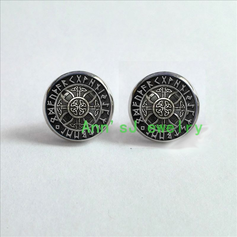 ES-00149 1pair Norse Viking ear stud Cross in Rune Circle Earrings Studs pierced earrings jewelry glass Cabochon Earrings Post(China (Mainland))