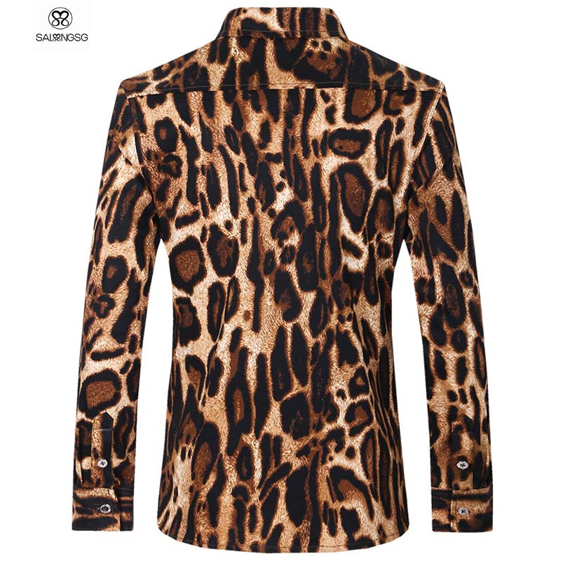 Luxury Brand Mens Dress Shirts Leopard And Flower Print Men Shirt Plus Size 5XL Mens Shirts Long Sleeve White Chemise HommeОдежда и ак�е��уары<br><br><br>Aliexpress