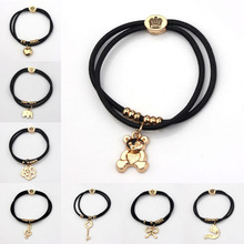 Bear Charms Bracelets Women Strong Elastic Black Rope Heart Elephant Rose Key 18K Gold Plated Crown & Hair Rope Nickel Free Gift(China (Mainland))