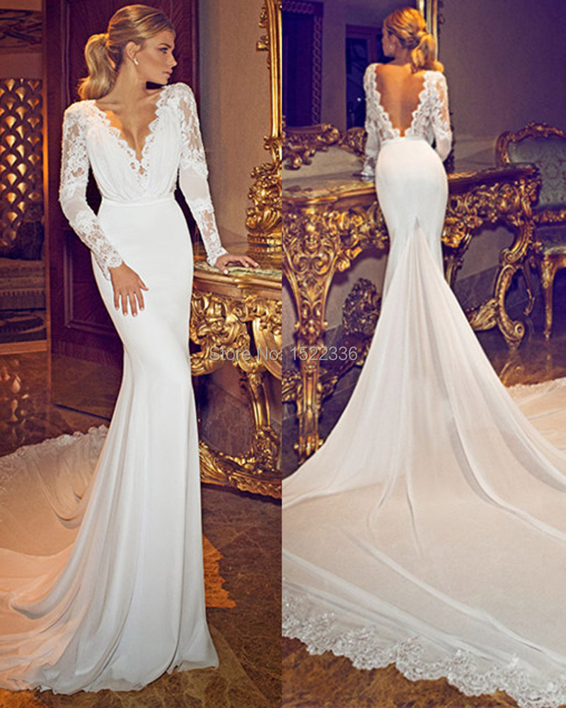 New fashionable 2015 chiffon lace deep v neck long sleeves for Long sleeve chiffon wedding dress